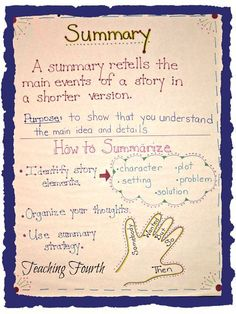 Teaching Fourth: Summarizing Anchor Chart. This anchor chart is a great visual to use as a reference when teaching summarizing. Summarizing Anchor Chart, Summary Anchor Chart, Ela Anchor Charts, Reading Anchor Charts, Summarizing Activities, Grammar Activities, Inference, Reading Activities, Teaching Grammar