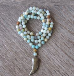 Amazonite Mala Necklace  Buddhist Mala Healing by BBTresors