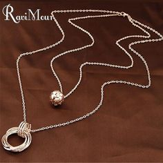 Gold/Silver Plated Double Chain Balls Circles Long Necklaces & Pendants Fashion Statement Colares Femininos Women Jewelry 2016