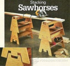 Stacking Sawhorse Bench - Workshop Solutions Plans, Tips and Tricks | WoodArchivist.com #woodworkingplans #woodworkingbench