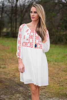 """""""Festive Embroidery Dress, Off White"""" 