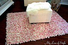 shag rag rug DIY Shag Rag Rug {Tutorial} WITHOUT latch-hooking and latch-hook base. (But buy t-shirts or cheaper fabric, can't afford the pretty expensive one she uses!)