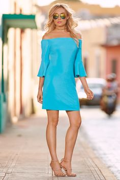 Trending Fashion | Women's Bold Blue Off-The-Shoulder Travel Dress by Boston Proper.