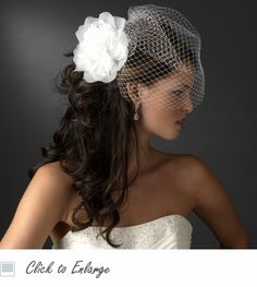 Birdcage Bridal Veil with Dahlia Flower Comb