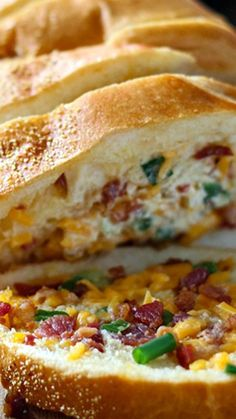 Cheesy Bacon Bread ~ An easy cheesy bacon bread appetizer for a big crowd. With creamy butter, cheddar cheese, bacon pieces and green onions!