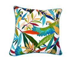 Outdoor cushion / pillow cover . Tucuman . Birds . Tropical . Colourful . Vibrant . Foliage