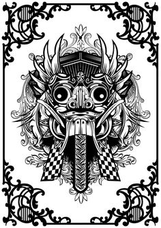 Barong Bali Logo by Sheridan Schuster Barong Bali, Balinese Tattoo, Adult Coloring, Coloring Books, Mask Drawing, Fu Dog, Indonesian Art, Tattoo Sketches, Tribal Art