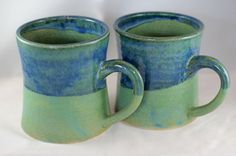 Large stoneware pottery mug, green and blue glaze (12 oz)