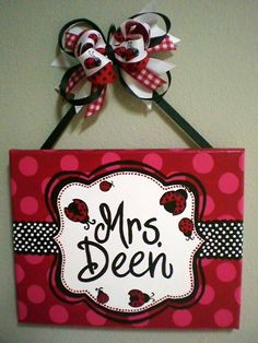 Red, Black, and White Lady Bug Polka Dot Name Sign for Teachers, Nurseries, Dorm Rooms and More. $35.00, via Etsy.