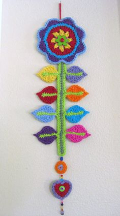 Crochet Flower Wall Hanging with Beads and Buttons by RoseJasmine, $27.00