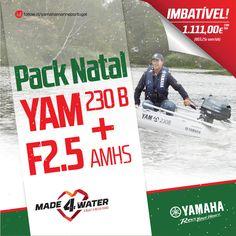 PACK NATAL: YAM 230B + F2.5 AMHS PREÇO IMBATÍVEL: 1.111,00 € com IVA! (903,25 € sem IVA) Num concessionário perto de si. Presentes de Natal para usufruir no ano todo! Campanha e condições: http://www.yamaha-motor.eu/pt/campanhas/pack-natal-marine.aspx Preços válidos de 1 a 20 de Dezembro para o pack barco YAM 230 com o motor fora de borda Yamaha F2.5AMHS.