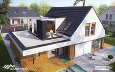 Haus moderne Häuser von Pracownia Projektowa ARCHIPELAG Your Style, Your Budget Tired of ogling the Modern Architecture House, Modern House Design, Architecture Design, House Extension Design, Roof Extension, Extension Ideas, Bungalow Extensions, House Extensions, Design Exterior