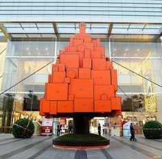 愛馬仕Hermes橘色禮盒聖誕樹 夢幻獻禮台中大遠百