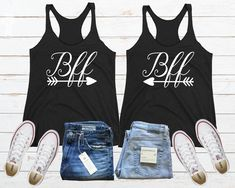Bff Matching Tank, Matching Best Friend, Cute Bff Shirt, Bff Arrow Shirt, Best Friend Tank, Gift For Bff, Best Friend Gift, Bff Shirt Set Friends Sweatshirt, Best Friend Shirts, Sister Shirts, Best Friends, Love Your Sister, Soul Sisters, Black Tank Tops, Girls, Twin