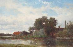 Willem Roelofs (1822-1897) Boerderij in polderlandschap Abcoude Weesp