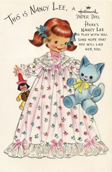 Nancy Lee paper doll card_Hallmark; great info about the series and artist + links to outfits