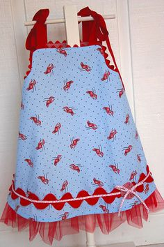 Tana Tutu dress pattern. This is reversible with red/white anchor on the other side.