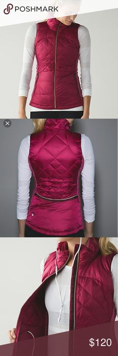 "NEW Lululemon Down for a run Vest New with tags attached! Berry Rumble color The details according to Lululemon: ""Why we made this Run from morning to night! this lightweight, slim-fitting vest is perfect for transitional weather. -fabric + features Ultra lightweight Glyde Light fabric is wind- and water-resistant soft, sweat-wicking Rulu? fabric side panels have added LYCRA? fibre so you can move freely secure pockets and media pocket with cord exit Side slip pockets Reflective details…"