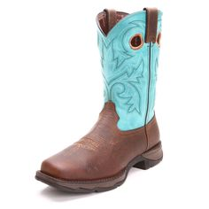 Durango Womens Rebel Square Steel Toe Work Boots Turquoise