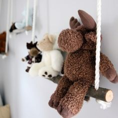 How to make these branch swing shelves to hold toys and books.