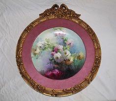 LARGE-Framed-HAVILAND-Antique-Limoges-France-Hand-Painted-Porcelain-Plaque
