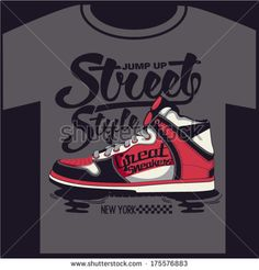 sneakers graphic design for t-shirt - stock vector