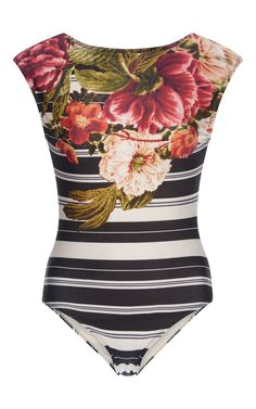 Carmen Cap Sleeved One Piece Swimsuit by LENNY Now Available on Moda Operandi