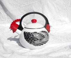 Vintage Teapot, Chicken Rooster Hen Kitchen Decor; Mid Century Farm Kitchen Country Decor by zincfineart on Etsy