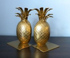 Heavy Vintage Solid Brass Pineapple Bookends. Coastal home or Hollywood Regency decor. by PacificWhim