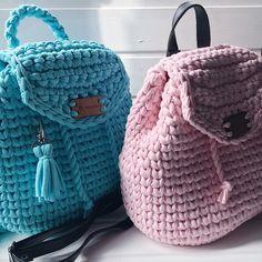 Рюкзак крючком/пряжа лента/кожаные ремни