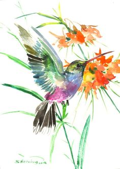 Hummingbird painting 15 X 11 in flame colors by ORIGINALONLY