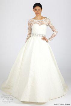 oscar de la renta bridal fall 2013 long sleeves ball gown wedding dress