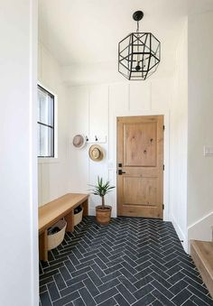 Ideas: Lindsay Hill Interiors mudroom decor with bench and herringbone floor Interior Design Ideas: Lindsay Hill Interiors mudroom decor with bench and herringbone floor Designer - RTG Designs House Design, Mudroom Decor, House, Interior, New Homes, House Interior, Herringbone Floor, Hill Interiors, Mudroom Entryway