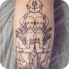 Choose your favourite zodiac tattoo from this list of unique gemini tattoos. From gemini zodiac symbol tattoos to twin faced tattoos & more are here. Dope Tattoos, Twin Tattoos, Symbol Tattoos, Sister Tattoos, Unique Tattoos, Body Art Tattoos, Sleeve Tattoos, Gemini Sign Tattoo, Gemini Symbol