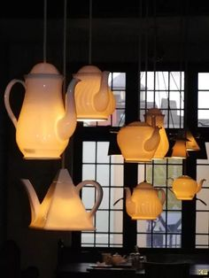 teapot lights, a total MUST HAVE for the tea shop or dreamy tea room in the home! Luminaire Original, Deco Luminaire, Pot Lights, Window Lights, Hanging Lights, Floating Lights, Diy Hanging, Lampshades, Lighting Design