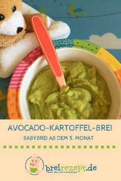 Avocado porridge with potato- Avocado-Brei mit Kartoffel Avocado mashed potatoes are suitable as a complementary food for the baby from the month. This makes it a perfect baby porridge for the Beikosteinführung: www. Raw Food Recipes, Fish Recipes, Gourmet Recipes, Healthy Recipes, Potato Recipes, Avocado Dessert, Avocado Toast, Avocado Baby Food, Brei Baby