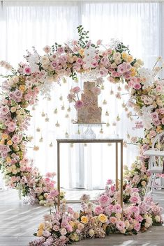 wedding trends 2019 elegant cake table with hanging pare pink white orchid flowe. wedding trends 2019 elegant cake table with hanging pare pink white orchid flower arch georgejohnphotography Floral Arch, Deco Floral, Floral Wreath, White Wreath, Floral Cake, Elegant Cake Design, Elegant Cakes, Elegant Table, Romantic Flowers