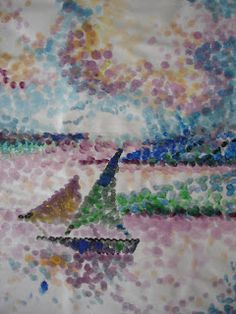 monique caffet pointillisme exemples r alis s avec des cotons tige et de l 39 aquarelle pour l. Black Bedroom Furniture Sets. Home Design Ideas