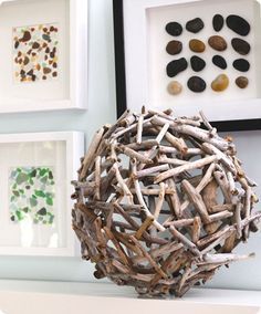 DIY Driftwood orb, love the rocks and sea glass in frames too! Also thinking I can make that shadowbox with stones in it too (on the top right)!