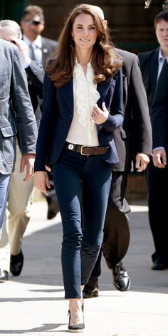 Catherine Middleton  toured Canada in a one-button Smythe blazer over a ruffled blouse and navy J Brand jeans.