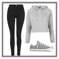 """Grey and black"" by aaliyahdixon5 ❤ liked on Polyvore featuring Topshop and Converse"