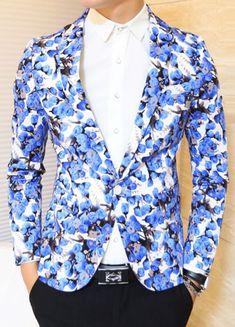 BLUE FLORAL MODERN FASHION STYLISH BLAZER RYUEP2GUQI4A