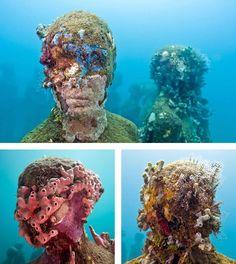 Visit the Underwater Sculpture Park in Cancun, Mexico- The underwater sculpture…