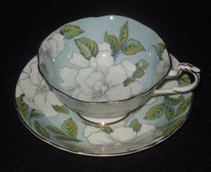 Paragon Sky Blue with White Roses Tea Cup Saucer   | eBay