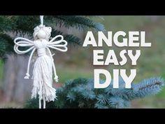 Easy DIY Angel using cotton rope Christmas Angel Crafts, Diy Christmas Ornaments, Simple Christmas, Christmas Crafts, Christmas Tree, Christmas Ideas, Macrame Projects, Diy Craft Projects, Craft Ideas