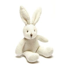 Soft Knit Cream Bunny Bell Rattle