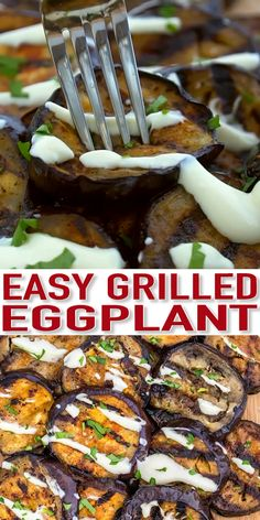 Grilled Eggplant is a healthy and flavorful side dish with crispy-edged that pairs well with many meals. It is super easy to prepare with just a few basic ingredients. - Grilled Eggplant Recipe - Sweet and Savory Meals Grilled Eggplant Recipes, Grilled Steak Recipes, Recipes With Eggplant, Grilled Meat, Healthy Grilling Recipes, Vegetarian Recipes, Cooking Recipes, Vegetarian Grilling, Bbq Recipes Sides