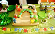 Very Hungry Caterpillar party: those leaf bowls from Oriental Trading are awesome!