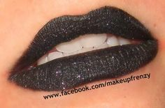 Makeup Frenzy used Eye Kandy's Black Bart over black lipstick for these dramatic lips.
