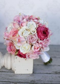 Items similar to Silk Bride Bouquet Roses Shabby Chic Vintage Inspired Rustic Wedding (item on Etsy Bouquet Bride, Silk Bridal Bouquet, Pink Bouquet, Bridal Flowers, Wedding Bouquets, Wedding Dresses, Floral Wedding, Rustic Wedding, Deco Rose